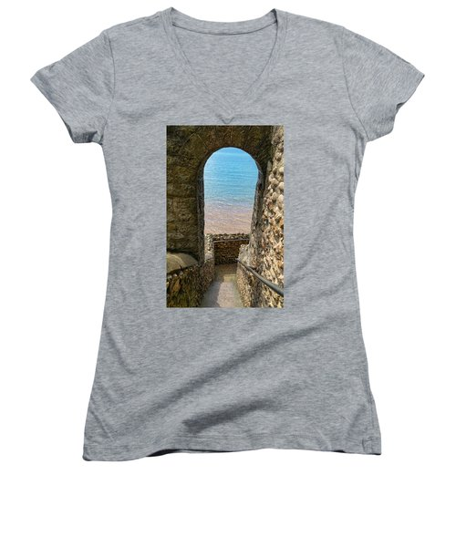 Women's V-Neck T-Shirt (Junior Cut) featuring the photograph Sea View Arch by Scott Carruthers