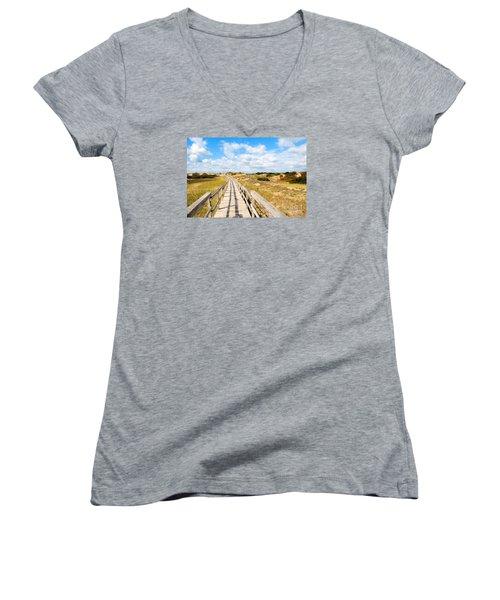 Seabound Boardwalk Women's V-Neck T-Shirt (Junior Cut) by Debbie Stahre