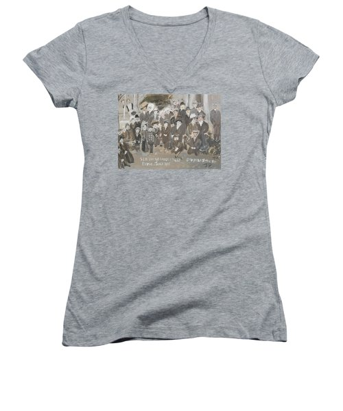 Seacombe Picnic Women's V-Neck T-Shirt (Junior Cut) by Judith Desrosiers