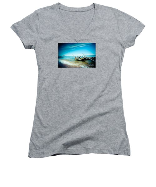 Seacost With Old Tree In Water Kolka Women's V-Neck