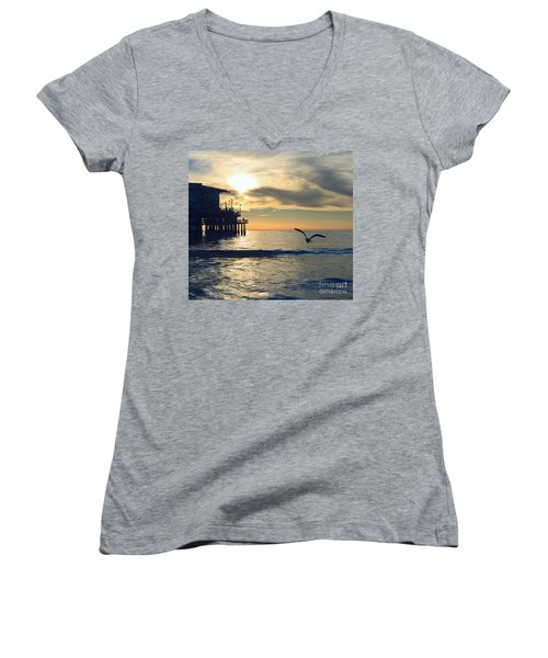 Seagull Pier Sunrise Seascape C2 Women's V-Neck