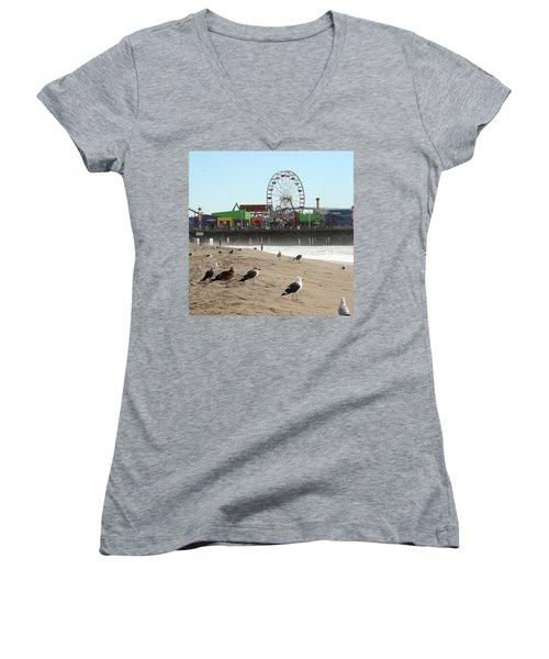 Seagulls And Ferris Wheel Women's V-Neck