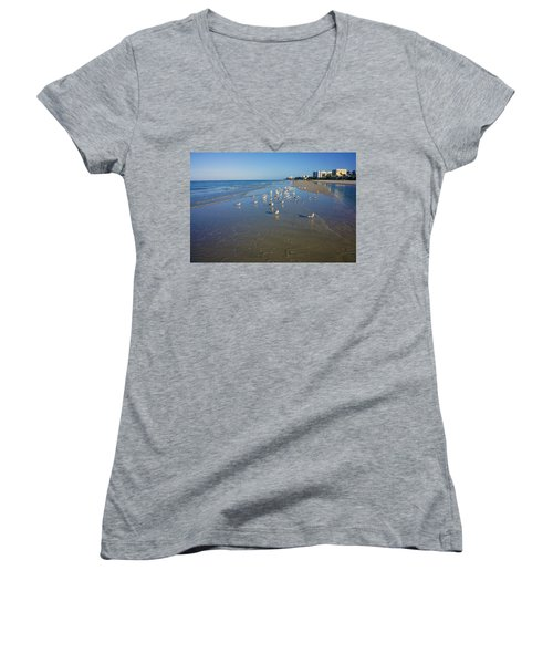 Seagulls And Terns On The Beach In Naples, Fl Women's V-Neck