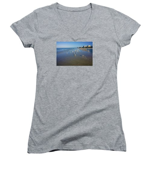 Seagulls And Terns On The Beach In Naples, Fl Women's V-Neck (Athletic Fit)