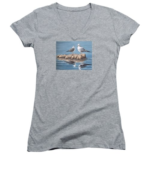 Women's V-Neck T-Shirt (Junior Cut) featuring the painting Seagulls In The Sea by Natalia Tejera