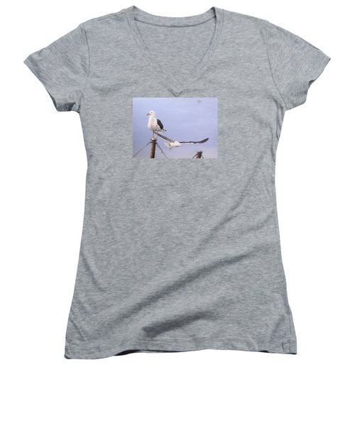 Women's V-Neck T-Shirt (Junior Cut) featuring the painting Seagulls by Natalia Tejera