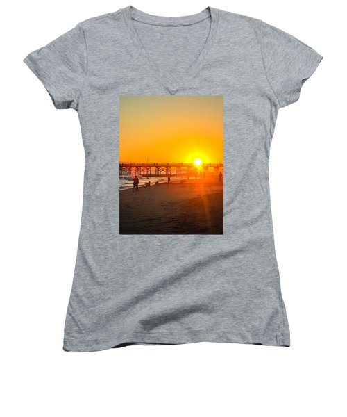 Seal Beach Pier Sunset Women's V-Neck T-Shirt