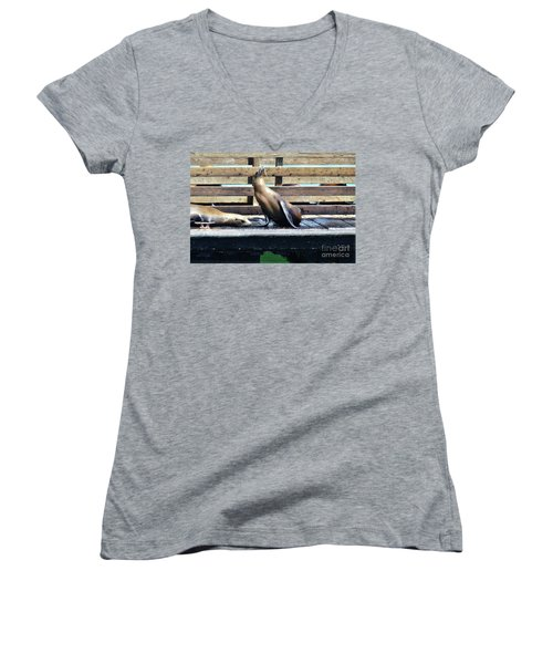 Seal Cheerleader Women's V-Neck T-Shirt