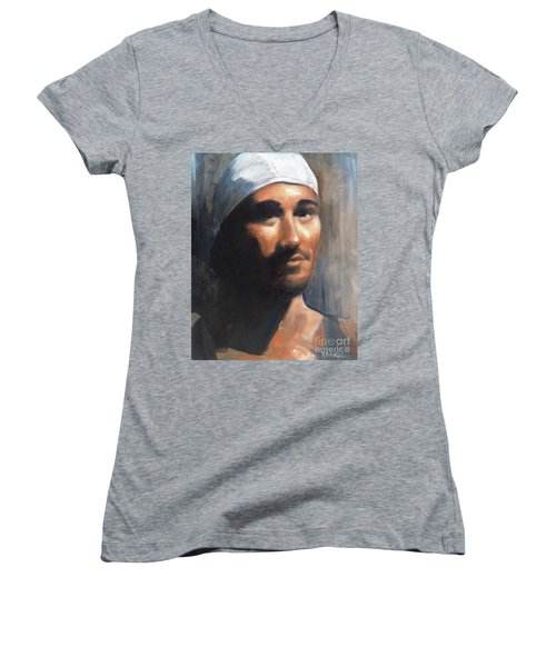 Women's V-Neck T-Shirt (Junior Cut) featuring the painting Sean by Diane Daigle