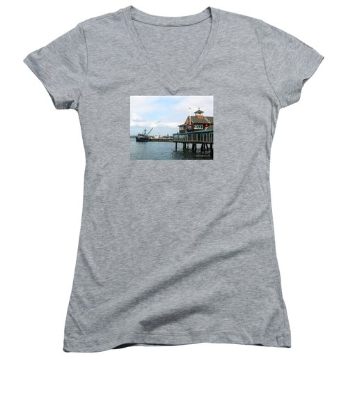 Seaport Village San Diego-2 Women's V-Neck T-Shirt (Junior Cut) by Cheryl Del Toro