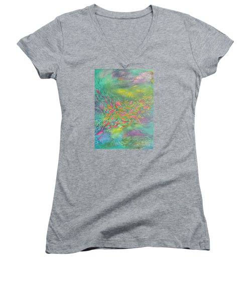 Women's V-Neck T-Shirt (Junior Cut) featuring the painting Searching by Lyn Olsen