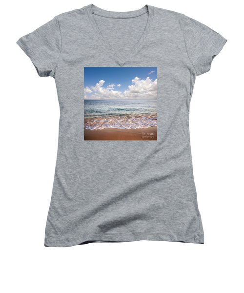 Seascape Women's V-Neck T-Shirt (Junior Cut) by Carlos Caetano
