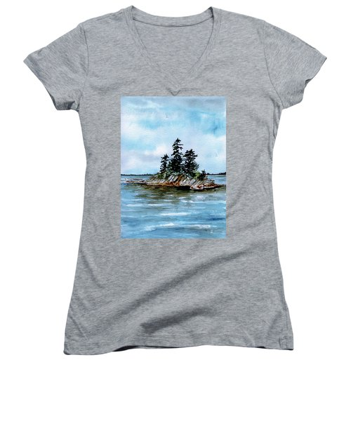 Seascape Casco Bay Maine Women's V-Neck (Athletic Fit)