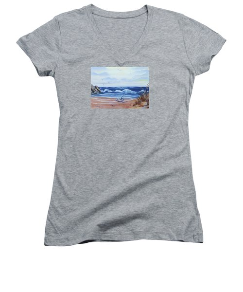 Seascape Women's V-Neck T-Shirt (Junior Cut) by Denise Fulmer