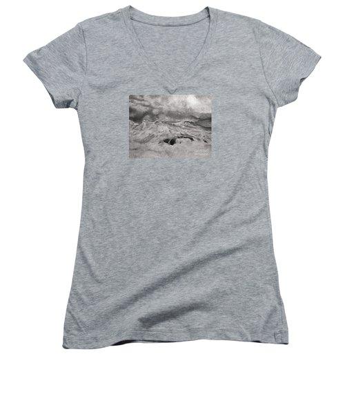 Seascape In Graphite Women's V-Neck T-Shirt (Junior Cut) by John Stuart Webbstock