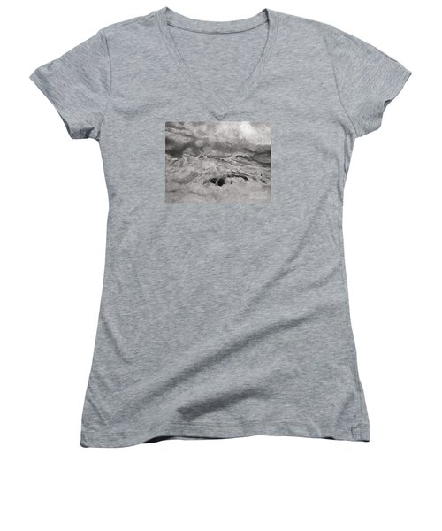 Women's V-Neck T-Shirt (Junior Cut) featuring the drawing Seascape In Graphite by John Stuart Webbstock