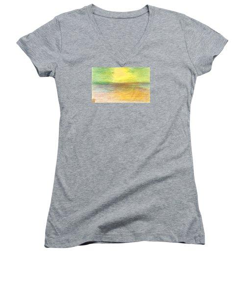 Women's V-Neck T-Shirt (Junior Cut) featuring the drawing Seascape by Karen Nicholson