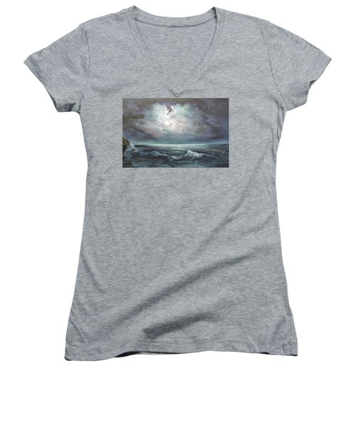 Women's V-Neck T-Shirt (Junior Cut) featuring the painting Moonlit  by Luczay
