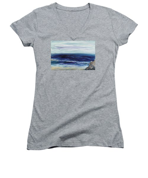 Seascape With White Cats Women's V-Neck (Athletic Fit)