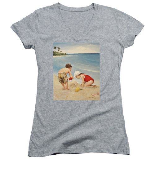 Seashell Sand And A Solo Cup Women's V-Neck (Athletic Fit)