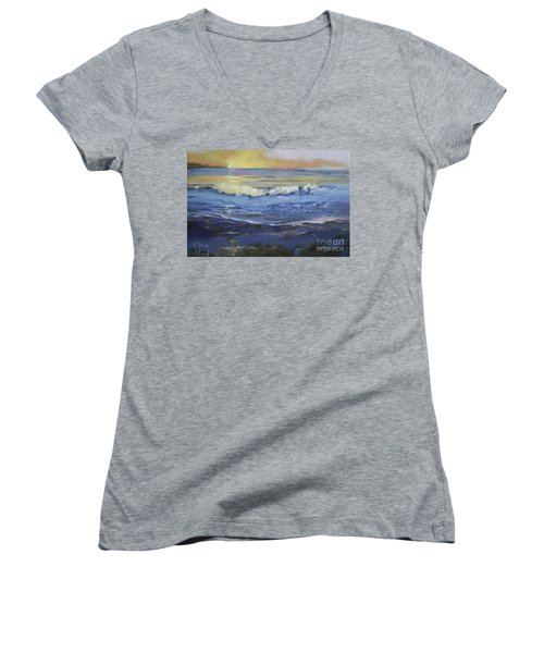 Seaside Women's V-Neck T-Shirt (Junior Cut) by Mary Hubley