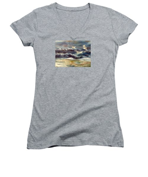 Women's V-Neck T-Shirt (Junior Cut) featuring the painting Seaside Serenade by Denise Tomasura