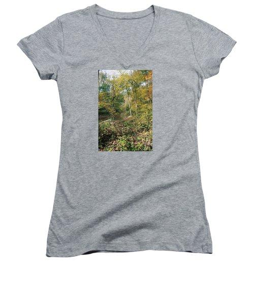 Women's V-Neck T-Shirt (Junior Cut) featuring the photograph Season Of Change by John Rivera