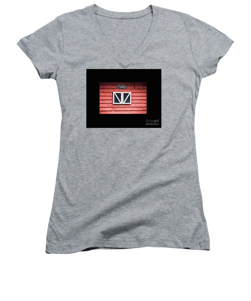 Women's V-Neck T-Shirt (Junior Cut) featuring the photograph Season's Over by Laurinda Bowling