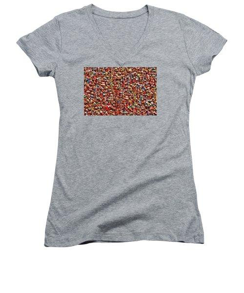 Seattle Gum Wall 2 Women's V-Neck T-Shirt (Junior Cut) by Allen Beatty