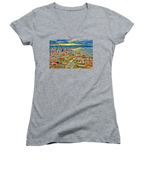 Women's V-Neck T-Shirt (Junior Cut) featuring the photograph Seattle by Jerry Cahill