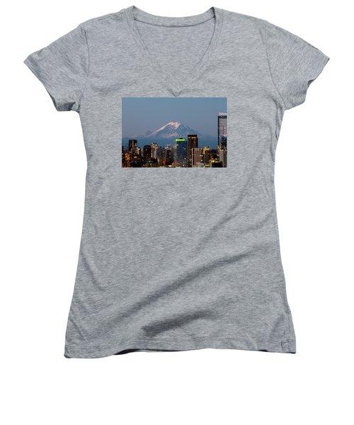Women's V-Neck T-Shirt (Junior Cut) featuring the photograph Seattle-mt. Rainier In The Morning Light.2 by E Faithe Lester