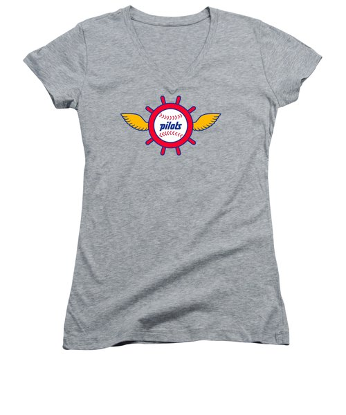 Seattle Pilots Retro Logo Women's V-Neck T-Shirt (Junior Cut)