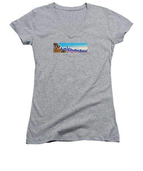 Seattle Sky Women's V-Neck T-Shirt (Junior Cut) by Martin Cline