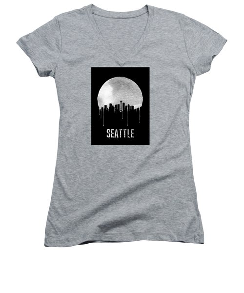 Seattle Skyline Black Women's V-Neck T-Shirt (Junior Cut) by Naxart Studio