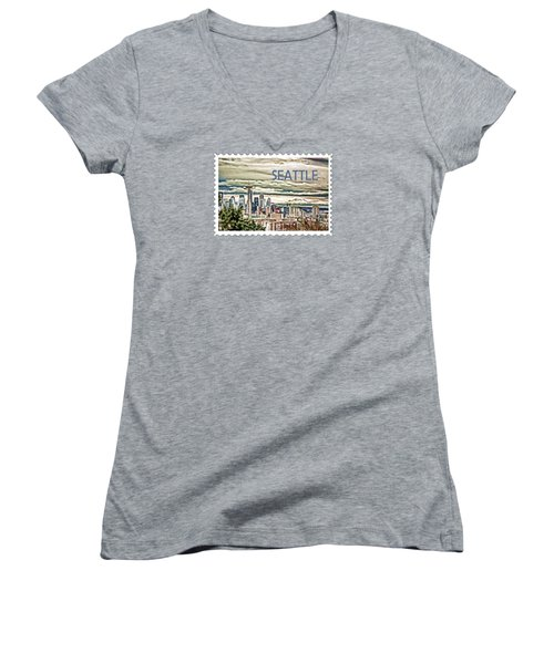 Seattle Skyline In Fog And Rain Text Seattle Women's V-Neck T-Shirt (Junior Cut) by Elaine Plesser