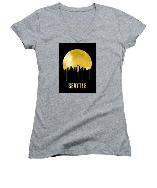 Seattle Skyline Yellow Women's V-Neck T-Shirt (Junior Cut) by Naxart Studio