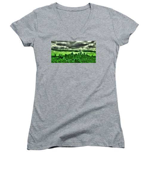 Seattle - The Emerald City Panorama Women's V-Neck T-Shirt (Junior Cut) by David Patterson