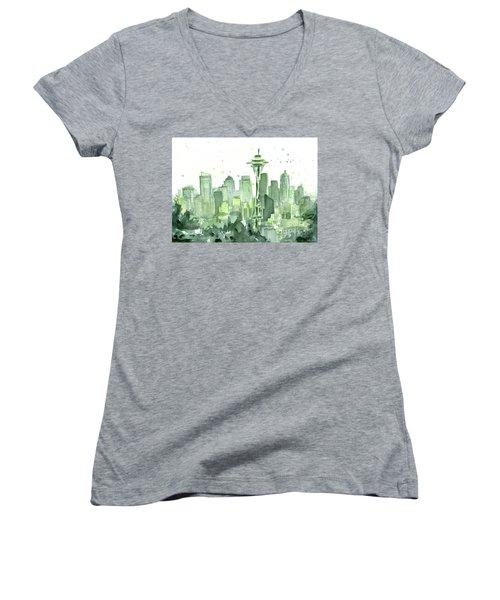 Seattle Watercolor Women's V-Neck T-Shirt