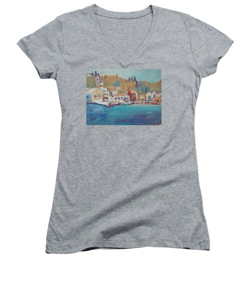 Seaview Lggos Paxos Women's V-Neck T-Shirt (Junior Cut)