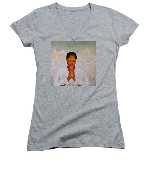 Women's V-Neck T-Shirt (Junior Cut) featuring the painting Secret Closet by Christopher Marion Thomas