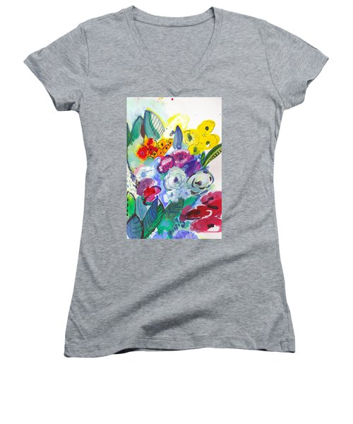 Secret Garden With Wild Flowers Women's V-Neck T-Shirt