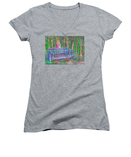 Women's V-Neck featuring the painting Secret Spot by Hidden Mountain