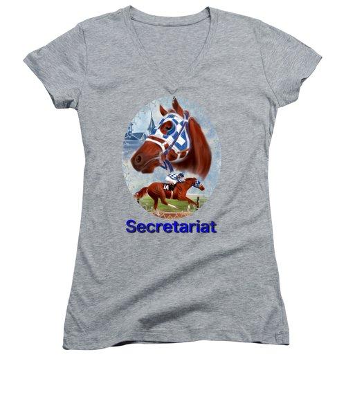 Secretariat Racehorse Portrait Women's V-Neck T-Shirt