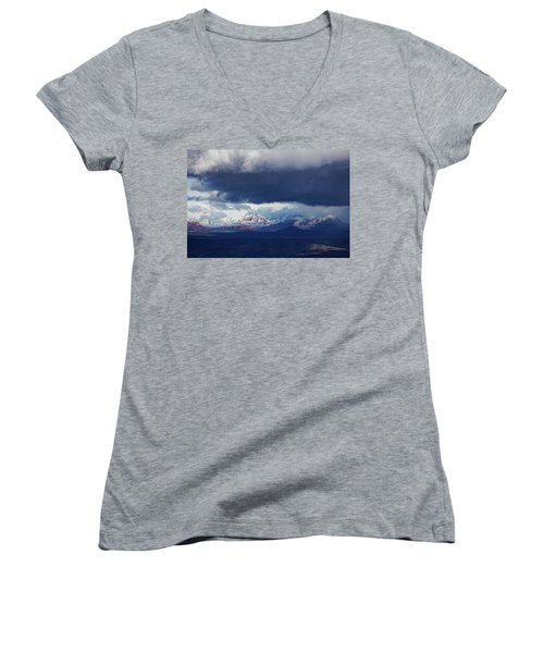Women's V-Neck T-Shirt (Junior Cut) featuring the photograph Sedona Area Third Winter Storm by Ron Chilston