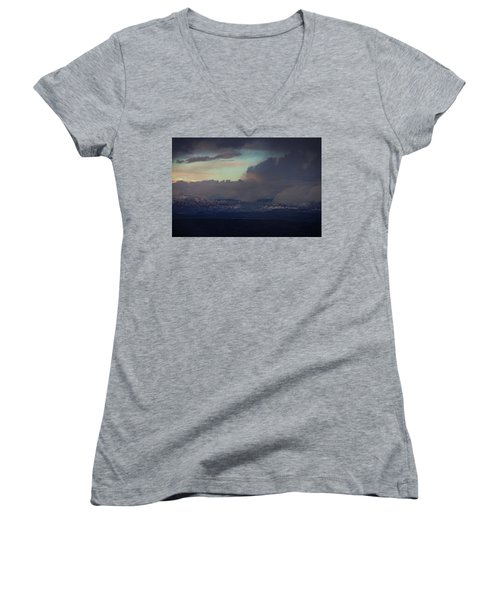 Women's V-Neck T-Shirt (Junior Cut) featuring the photograph Sedona At Sunset With Red Rock Snow by Ron Chilston