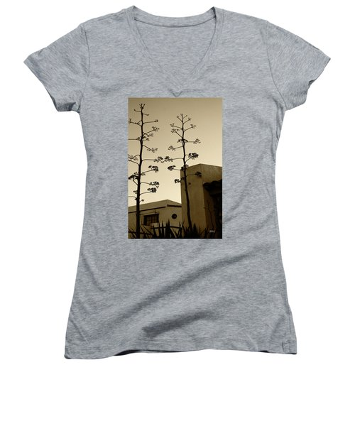 Women's V-Neck T-Shirt (Junior Cut) featuring the photograph Sedona Series - Desert City by Ben and Raisa Gertsberg