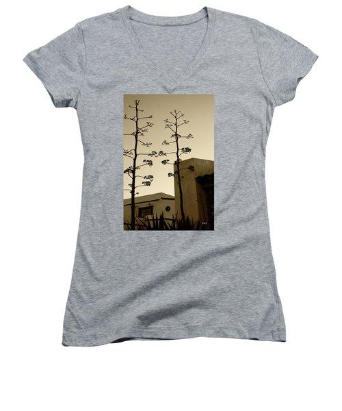 Sedona Series - Desert City Women's V-Neck T-Shirt (Junior Cut) by Ben and Raisa Gertsberg