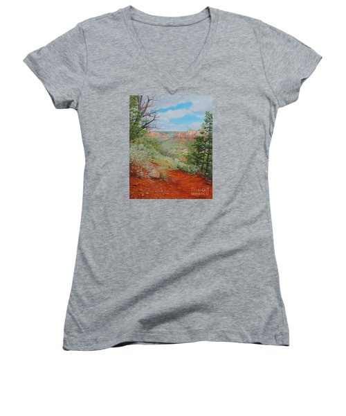 Sedona Trail Women's V-Neck T-Shirt (Junior Cut) by Mike Ivey