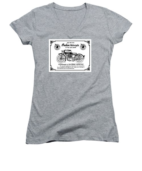 Women's V-Neck T-Shirt (Junior Cut) featuring the mixed media See New 1914 Indian Motocycle At The Auto Show by Daniel Hagerman