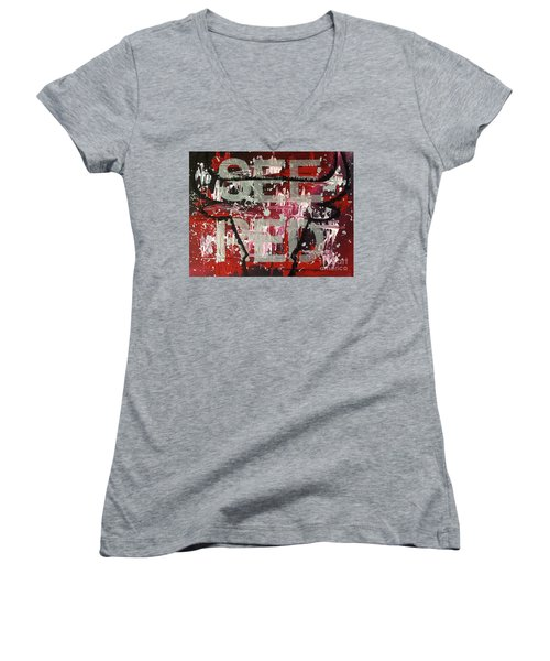 See Red Chicago Bulls Women's V-Neck T-Shirt (Junior Cut) by Melissa Goodrich